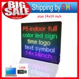 실내 풀 컬러 LED 스크린 위원회 USB 편집 가능 지원 원본 로고 심상 광고 발광 다이오드 표시 표시