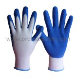 13G Polyester Liner Blue Latex Foam Palm Dipping Gloves