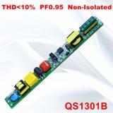 fonte de alimentação Non-Isolated QS1301b da lâmpada PF0.95 de 18-25W THD<10%