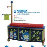 Coatrack Children Furniture를 가진 나무로 되는 Multifunction Storage Stool Storage Box