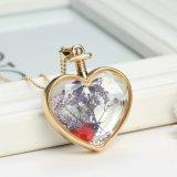 """Figura Pendant del cuore della collana del Locket secca catena del vetro """"float"""" del fiore della sfera della lega"""
