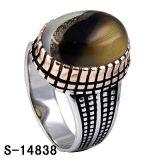 Anello d'argento dell'uomo dei monili di modo con la pietra naturale