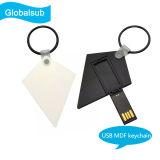 USB del regalo de sublimación MDF Llavero con Transferencia de Calor en blanco