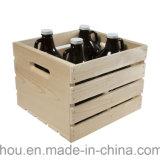 Caixa de madeira de empacotamento da caixa do armazenamento da durabilidade do vintage com punhos