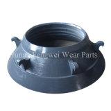 Broyeur de cône de doublure de cuvette de broyeur de cône d'acier de manganèse concave et manteau