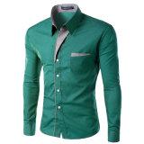 2017 camice lunghe del manicotto del cotone delle camice di vestito dagli uomini di modo