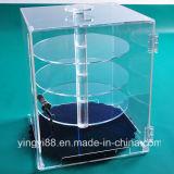 Caixa de exposição de jóias de acrílico transparente com prateleiras rotativas