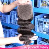 Onda média 10inches do corpo do fechamento do laço do cabelo humano da parte