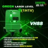 レーザーのレベルを水平にしている緑の交差ライン自己
