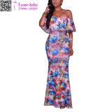 --Плеча флористической печати Veronique платье L51404 голубого Multi-Color макси
