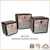 3개의 색깔에 있는 가정 훈장 포도 수확 세계 지도 인쇄 저장 트렁크 그리고 저장 상자