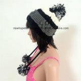 100% шерсти Исландии, ручной работы способ Crocheted шлемы с анизотремусом/Earflap с шнурами