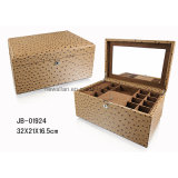 Cuoio di lusso dello struzzo del Brown con il contenitore di monili di legno della casella di memoria dei monili della serratura