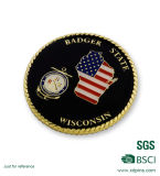 Pièce de monnaie militaire personnalisée de souvenir plaquée par or de bord de corde