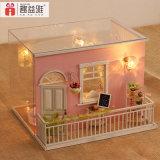Brinquedo modelo de madeira diminuto da casa bonita nova da cor-de-rosa DIY do projeto para o presente de aniversário das meninas minhas memórias cor-de-rosa