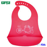 青い牛食品等級のシリコーンの適用範囲が広い赤ん坊の摩耗のキャッチャーが付いている水密のシリコーンの胸当て
