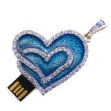 Movimentação de cristal da memória Flash do USB do metal da jóia do coração do diamante
