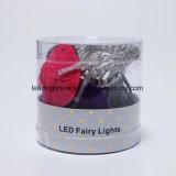 3V AA Funcionamiento con pilas 10 LED blanco Luz de hadas estrellada con tela de elefante de arte de tela