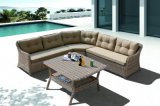 Jogo de vime do sofá do Rattan do jardim do pátio ao ar livre, mobília ao ar livre do jogo secional de Justin (J610)