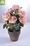 Tacto verdadero artificial Rose Boquet en el crisol de papel &#160 de Mache; para Decoration
