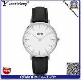 Acero inoxidable genuino del reloj de Clused de la correa de cuero Yxl-235 o mujeres creadas para requisitos particulares caso de los hombres de los relojes de la aleación