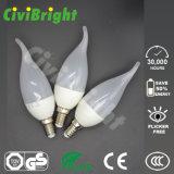 Bulbo novo elevado aprovado da vela do diodo emissor de luz do projeto 5W do CRI de Ce/RoHS