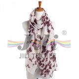 Belle imprimé papillon imprimé Viscose Polyester Long hiver Meilleures ventes Echarpe