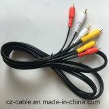 AV кабеля, штепсельной вилки RCA 3 к кабелю штепсельной вилки RCA 3