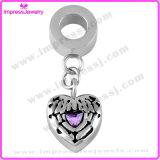 De Vorm van het hart met de Purpere Charmes van de Halsband van het Kristal voor As