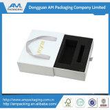 Caja de regalo plegable de papel azul personalizado con cierre de cinta