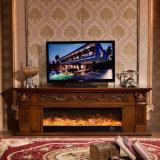 Europäischer Skulptur Fernsehapparat-Standplatz LED beleuchtet Heizungs-Kamin (321S)