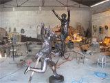 Sports 2, intérieur, décorations en métal de club. Sculpture abstraite en grille en acier inoxydable.
