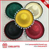 Sombrero de paja de papel mexicano llano de gran tamaño colorido para el verano
