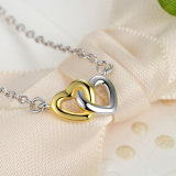Jeu réglé de bijou de boucles d'oreille de boucle de collier de bijou d'argent sterling du coeur 925 de double du cadeau de Valentine