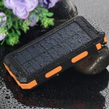 O banco solar 10000mAh da potência do carregador Dual carregador do painel solar do USB com o Portable leve do compasso do Carabineer 2LED para o acampamento ao ar livre Emergency Viajar-Alaranjado
