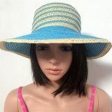 100% sombrero de paja, Style de la manera de señora con las rayas y el borde grande
