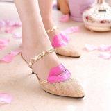 Весна и лето ботинок 2017 тапочек отдыха Baotou шнурка Lvkong марли диаманта женских High-Heeled продают сексуальные губы оптом