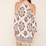 Form-Frauen-Freizeit loses Chiffon- gedrucktes V-Stutzen Gefäß-Kleid