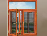 Finestra di alluminio personalizzata della stoffa per tendine unita disegno di legno di quercia dai fornitori dei portelli e di Windows