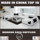 Sofá de sala de estar de couro genuíno com mesa de café