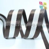 Webbing de nylon da falsificação listrada do poliéster para a cinta de ombro dos acessórios do saco