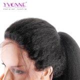 イボンヌ180%の密度の黒人女性のブラジルのバージンの毛の自然なカラーのためのねじれたまっすぐなレースの前部人間の毛髪のかつら