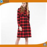 Soem-Frauen-Oberseite-Form-langes Blusen-Baumwollsmokinghemd