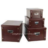 PVC multiusos Paper Cardboard Foldable Storage Box de Strong con Metal Button y Handle para Office/Home Packing