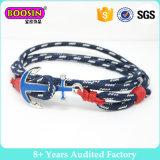 De douane In de was gezette Armband van het Anker van de Kabel Zeevaart, de Geknoopte Armband van de Kabel van de Manchet van de Armband, de Met de hand gemaakte Zeevaart het Varen Juwelen van de Kabel van de Armband van de Kabel