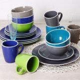 Color sólido con el sistema de cena de cerámica blanco del borde 16PCS