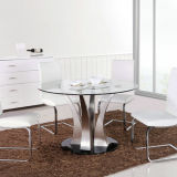 Altezza Adjustable Glass Table con Stainless Steel Leg (A332)