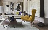 La silla amarilla del ocio de la fibra de vidrio del color fijó con la base de madera (FC-027)