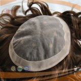 Toupee blond de Hairpiece de circuit de cheveux humains de cadre d'unité centrale de couleur de point culminant d'endroit de couleur