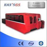 máquina de estaca inoxidável do laser da fibra da placa de aço do GS de 500W Wuhan Han para a venda